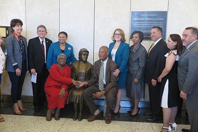 Assemblymember Reyes with Rosa Parks statue