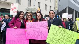 Reyes, Gonzalez Fletcher, Carrillo, and Gloria at Sacramentans United for Immigrants & Against Sessions Rally