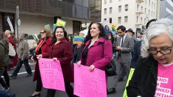 Reyes, Gonzalez Fletcher, and Carrillo at Sacramentans United for Immigrants & Against Sessions Rally